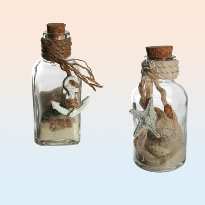 bouteille en verre sable et coquillages achat vente. Black Bedroom Furniture Sets. Home Design Ideas