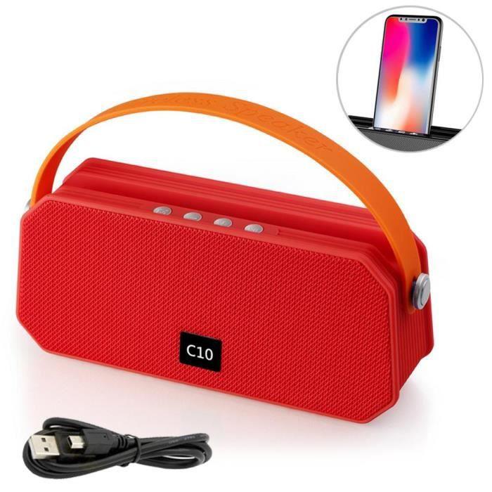 C10 Mini Haut-parleur Bluetooth Sans Fil Portable Rouge