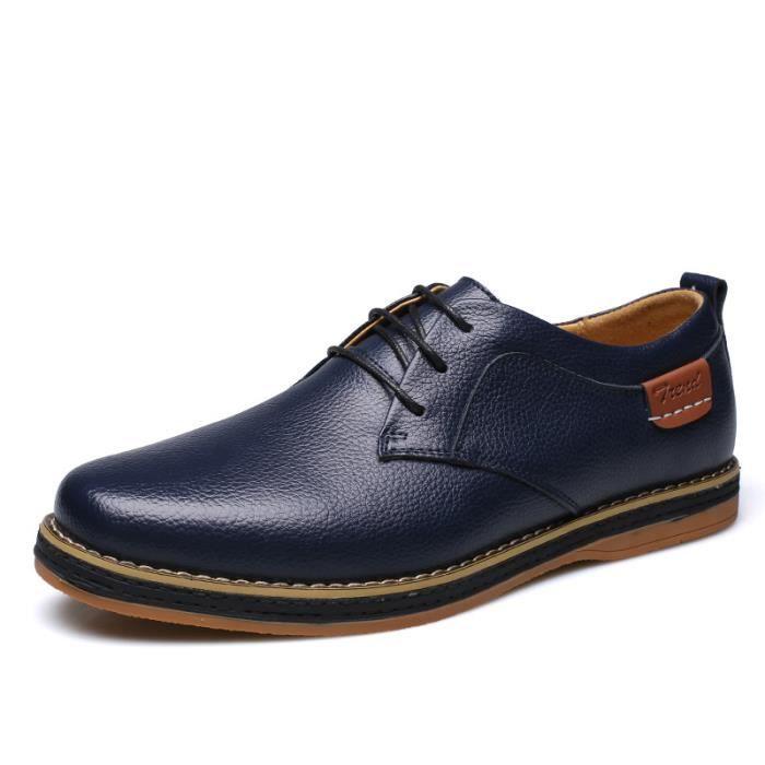 IZTPSERG Richelieu Cuir Chaussure Homme Bleu