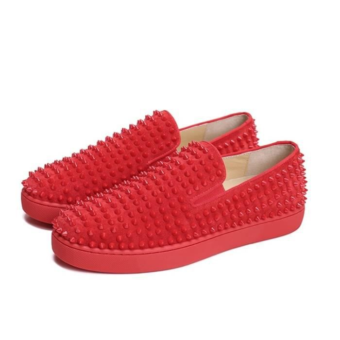 Chaussures Red 38 Spikes Casual 46 Mocassins Dandelion Bottom Flats Rivets UE Shoes Mode Hommes qUPxqtS