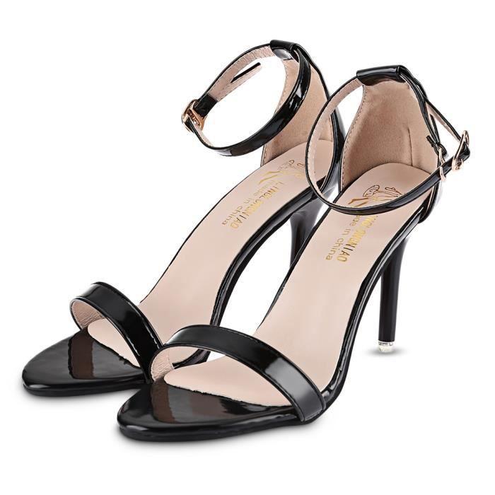 Solide Couleur sexy brillant dames sandales à talon mince I0ze9