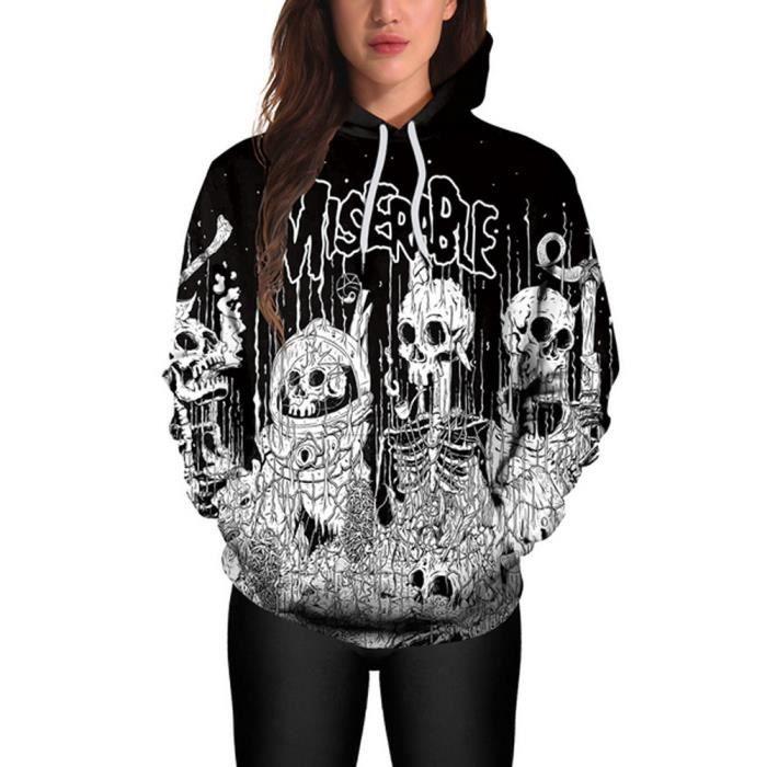 Napoulen®Halloween femmes occasionnel Sweats à capuche imprimer pull  Sweatshirt pull Tops NOIR-XPP1011289 813bc3e1f502