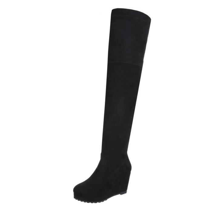 Chaussures femme Overknee bottes Talon compensé Plateau noir 41