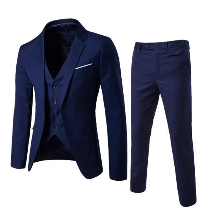 plus bas rabais comparer les prix la qualité d'abord (Veste+Pantalon+Gilet)Costume Homme Marque Luxe 3 Pièces Ensemble Homme  Blazer Hommes Pantalon de costume slim VêTements Masculin -