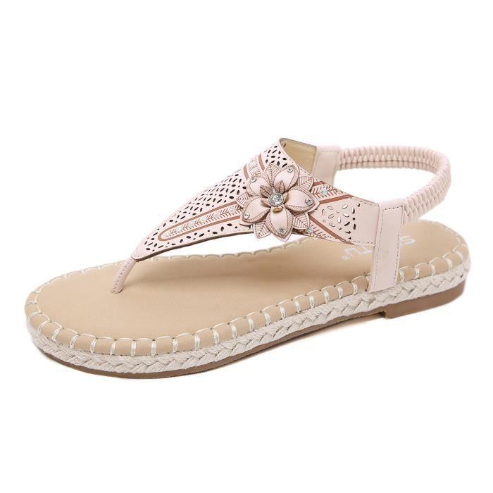 Tongs Femme Chaussures Plates Fleur Sandales Bohémien Nvmnw80O