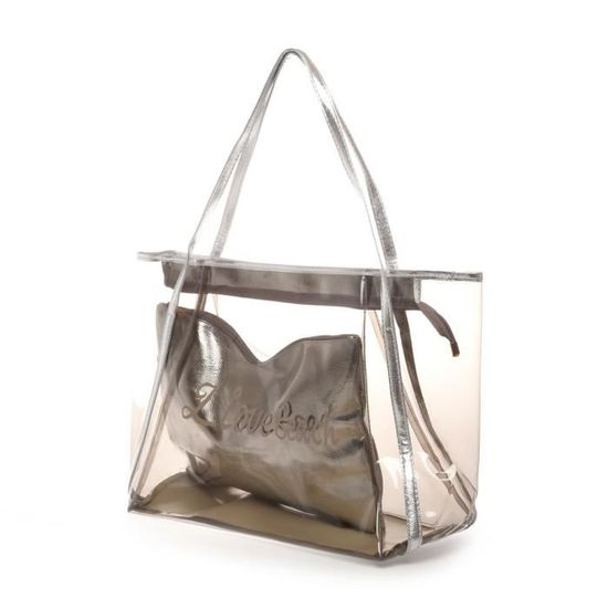 9f0e5a5798 Sac de plage argenté transparent avec pochette - Achat / Vente panier - sac  de plage 3663870075997 - Cdiscount