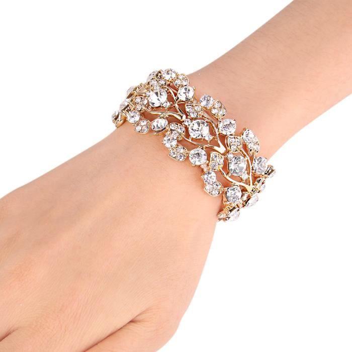 EVER FAITH® Femme Bracelet Cristal Autrichien Mariage Fleur Feuille Plaqué Or N02993-2
