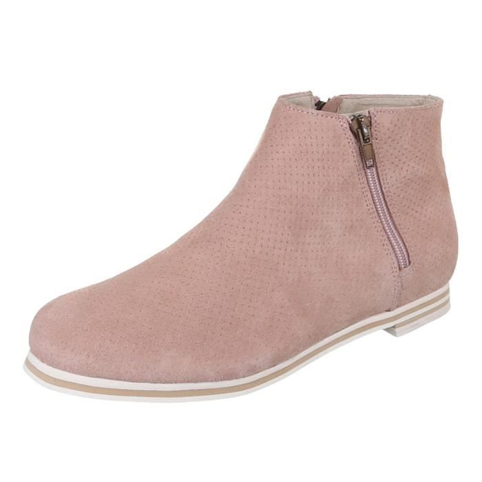 Chaussures femmes Bottine PERFORATED cuir bottes rose