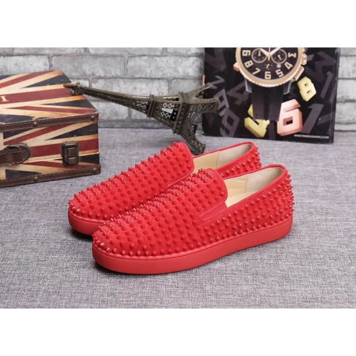 UE 38-46 Hommes Red Bottom Shoes Mode Dandelion Spikes Mocassins Casual Chaussures Rivets Flats 6A8xkkp