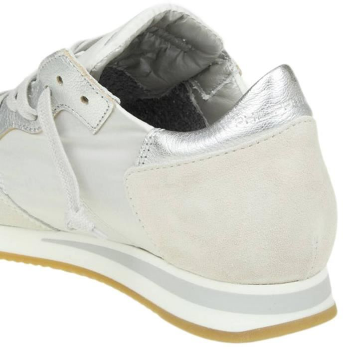 PHILIPPE MODEL FEMME ss ARGENT CUIR BASKETS