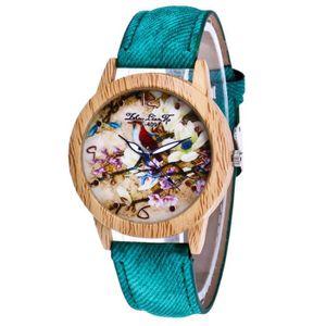 MONTRE Rétro motif de fleurs bracelet en cuir analogique