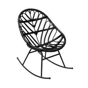 FAUTEUIL Rocking chair en rotin Ette - Couleur - Noir