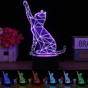 LAMPE A POSER 3D Illusion LED Chats Nuit Lumière Veilleuse Lampe
