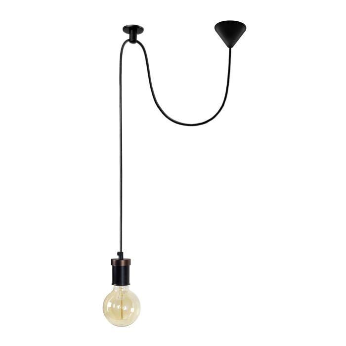 Suspension Krake - Lustre, câble 150 et fixation au plafon - Noir - E27 40WLUSTRE - SUSPENSION
