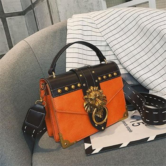 Mode Sacs Paquet Sac Pack Carré Mini Tête Femme Orange Métal Épaule En Bandoulière De Lion Petit D'embrayage t6x6rZ