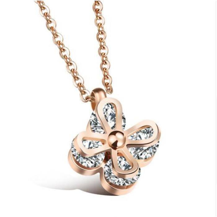 Bracelet Fleur Pendentif Collier Pour Les Femmes Incrusté Effacer Cubique Ziconia élégant Cadeau de Bijoux Dames