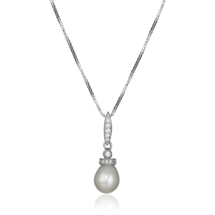 Jewel Panda Perle deau douce Cultured zircon Sterling Collier avec pendentif en argent