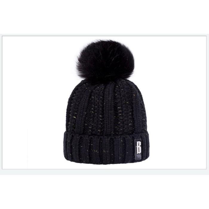 1 Bonnet en tricot doublé polaire peluche doux pour femme - bonnet chaud  hiver avec torsades et gros pompom fausse fourrure - NOIR a49a5bf016b