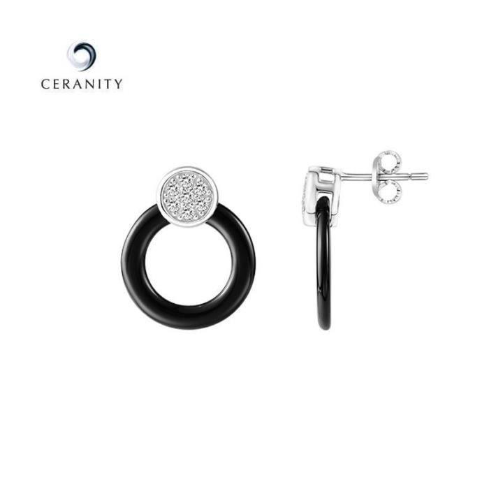 Boucles doreilles Ceramique et argent Ceranity 1-42/0059-N Noir