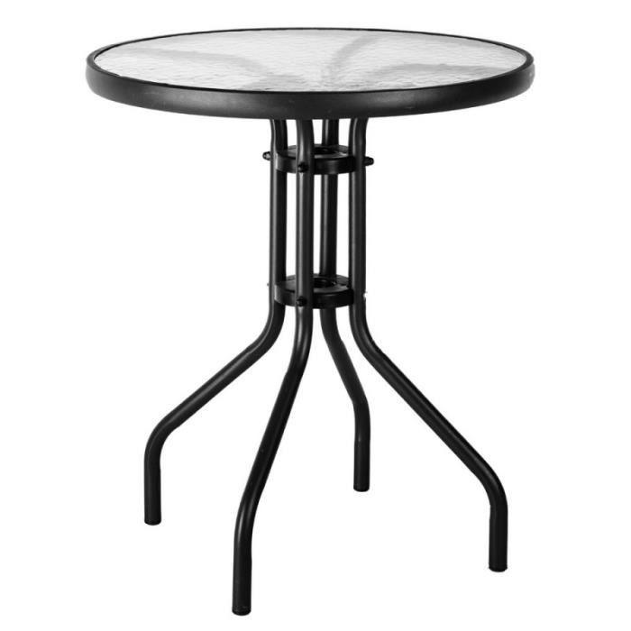 TABLE BASSE Table de jardin ronde 60cm en verre et fer noir TE
