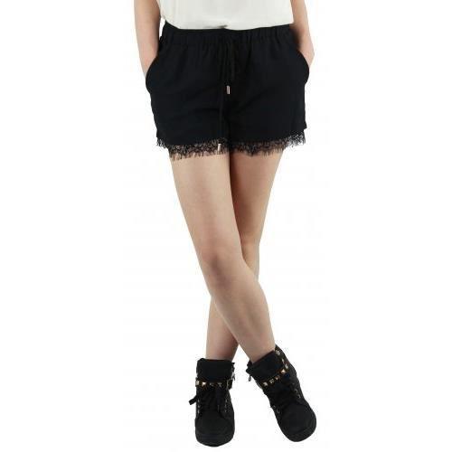 Short dentelle lingerie Rose Noir - Achat   Vente short - Cdiscount 3f1bc805c6d