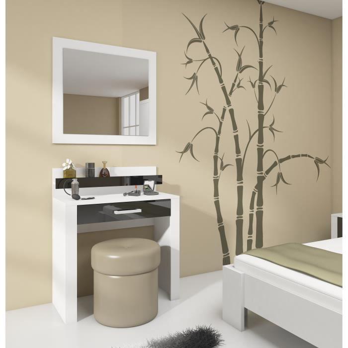 Solo coiffeuse - blanc mat / noir brillant - tiroir - Achat / Vente ...