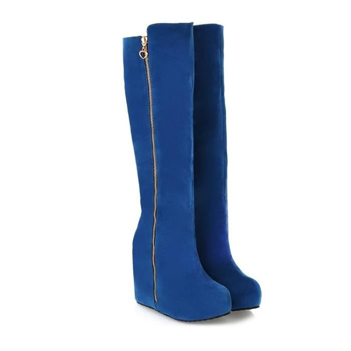 martin boots-Pure Color Wedge talon bout rond B...