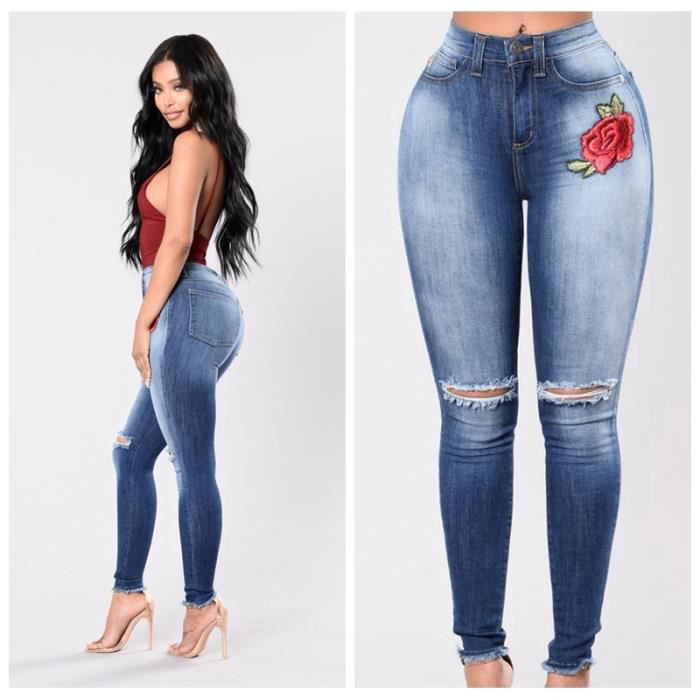 femme denim pantalons taille haute jeans slim leggings collant crayon casual d chir pants bleu. Black Bedroom Furniture Sets. Home Design Ideas