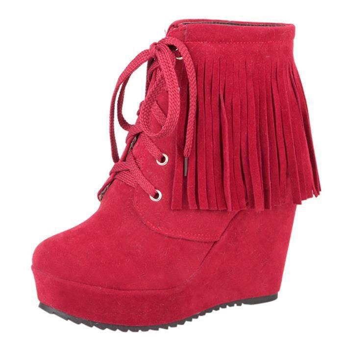 Lace Talon Haut Bottes Tassel Rouge Court Femmes up Compensées Chaussures Mode pPda4a