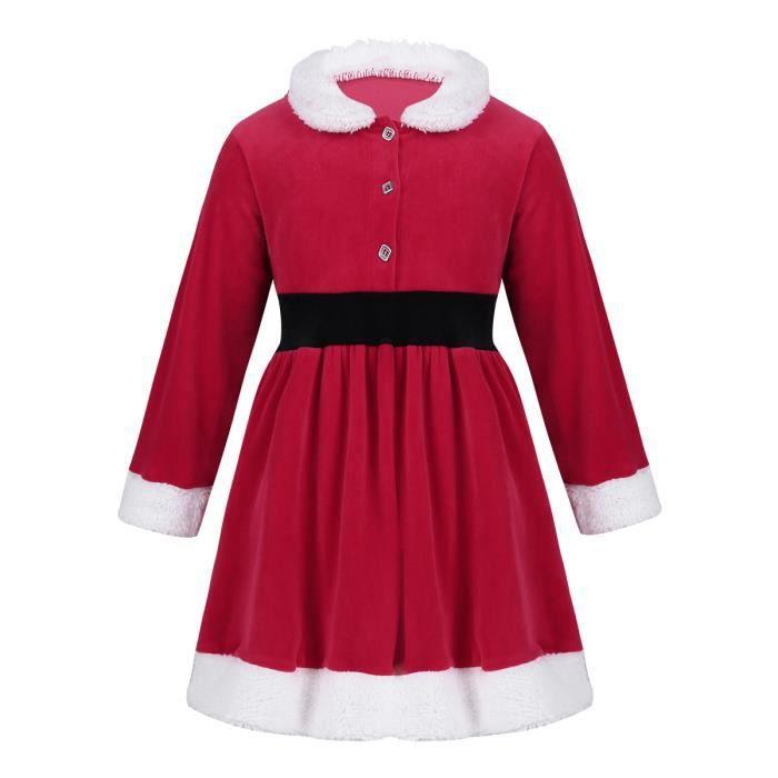 466249e9b51 Robe Fille Manche Longues Hiver Costume de Noël Fourrure Robe De Princesse  Vacances Casual Rouge 2-6 Ans