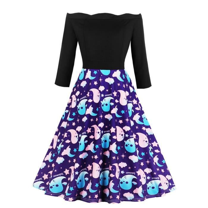 5e9de1d95d462 Grande taille femme Halloween imprimé dentelle robe à manches longues Party  XL Robe trapèze Violet