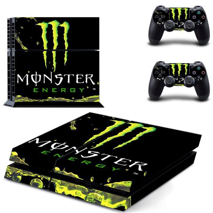 jwmall monster energy ps4 sticker skin stickerbomb autocollant film console sony playstation 4. Black Bedroom Furniture Sets. Home Design Ideas