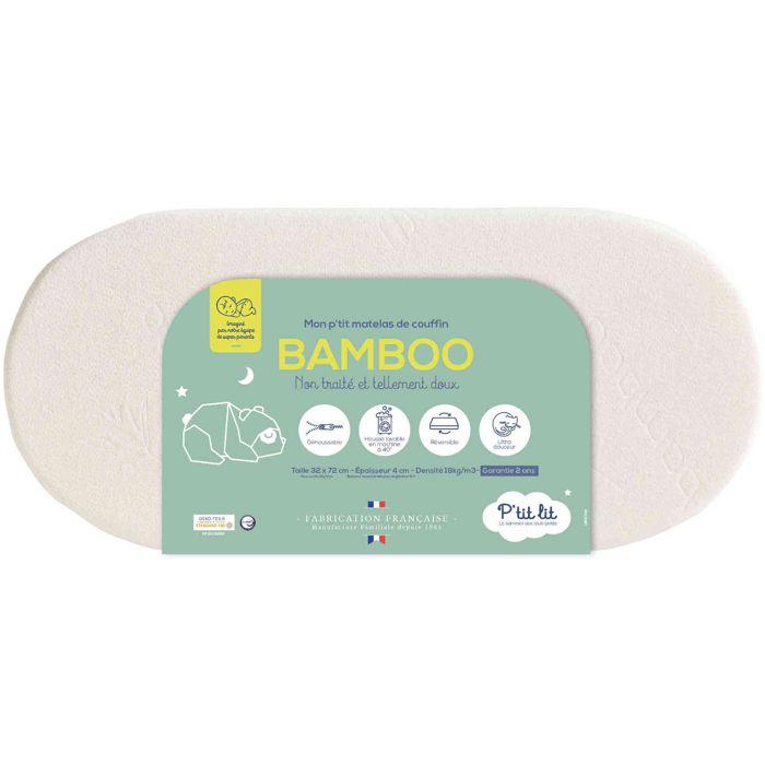 P Tit Lit Matelas De Couffin Bamboo 32 X 72 Cm Blanc Achat Vente