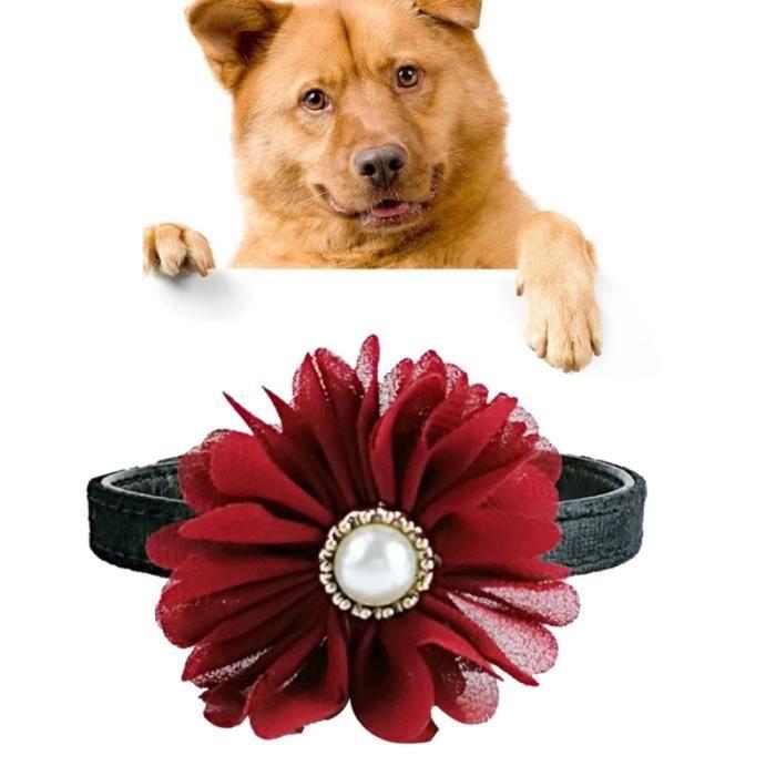 Collier Chien & Chat Rouge Perle Fleur Décoration Peluche Réglable, Taille: 1.0 * 30.0cm Autre