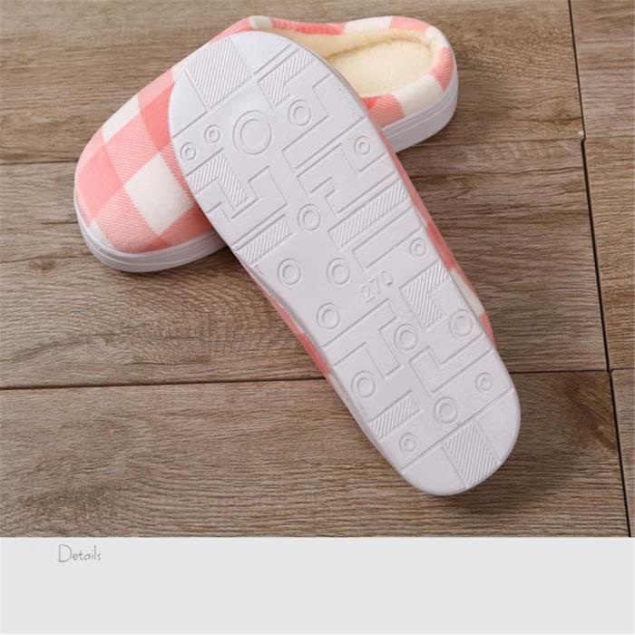chausson femme hiver chaud maison Classique pantoufles femme anti-glissement intérieur Beau chaussure de luxe femme Plus De d6CTt