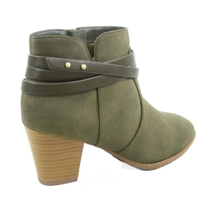 Cityclassified Mode Dian-s bout en amande Straps Western Chunky Bottes de chaussures à talons NNPZ4 Taille-37 1-2 DO9Na