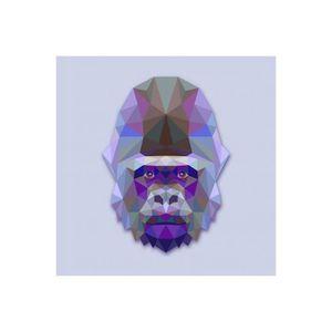 TABLEAU - TOILE Tableau Animaux Gorille Bleu et Violet 60X60