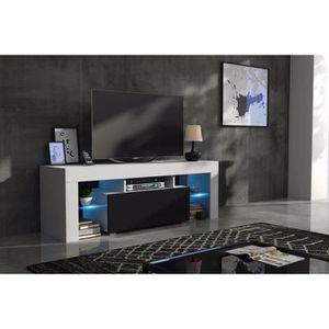 MEUBLE TV Meuble tv 130 cm corps  blanc  mat et porte laquée