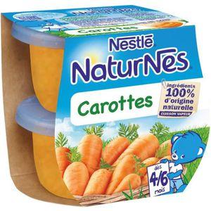 PURÉES DE LÉGUMES NESTLÉ Naturnes Carottes - 2x130 g - Dès 4/6 mois