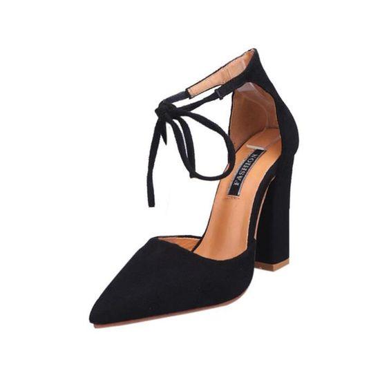 Sandales pour femmes Chaussures d'été Femmes Dames Pompes Sexy Chaussures à talons hauts@Noir Noir Noir - Achat / Vente escarpin