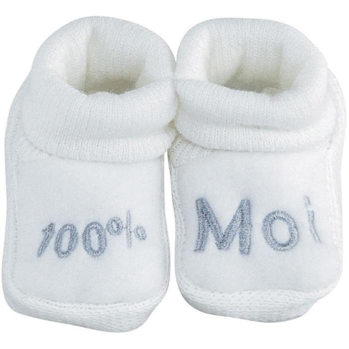 TROIS KILOS SEPT Paire de chaussons - 0-1 mois - Bébé mixte - Blanc