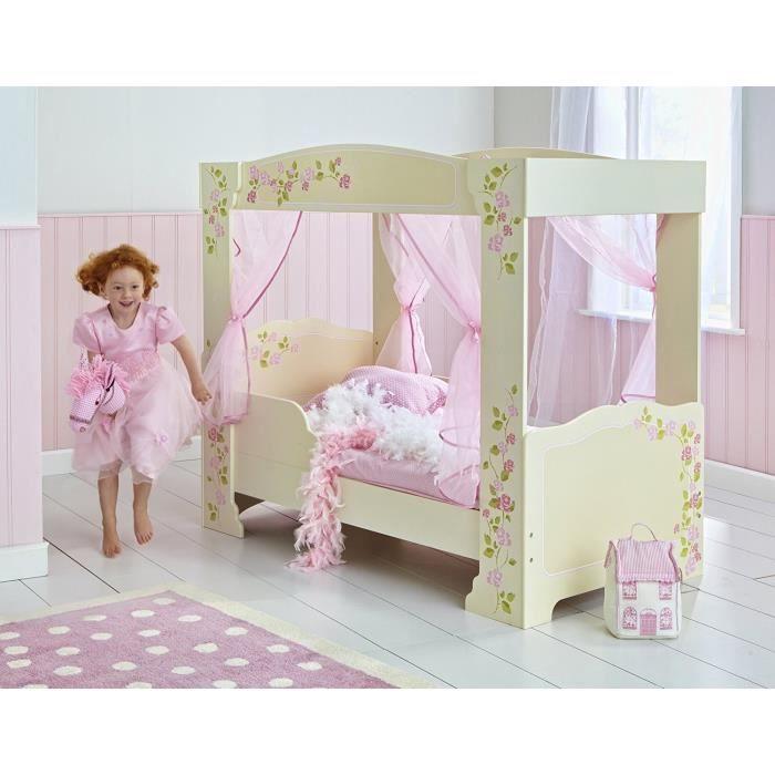 Lit Enfant Fille à Baldaquin en bois Rose et Blanc avec rideaux Rose 70 * 140 cm - Worlds Apart