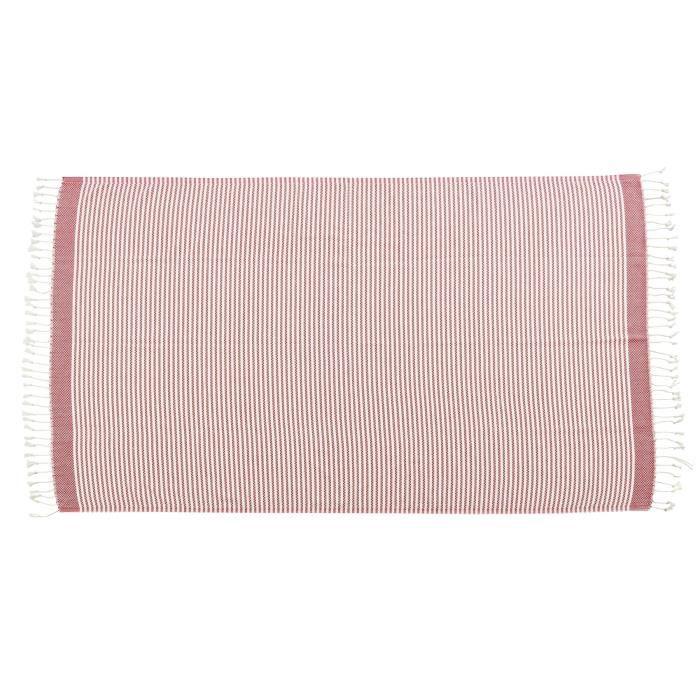 DONE Plaid LOUNGE STRIPES - Composition : 100% Coton - Coloris : ROUGE - Dimensions : 100x180cmCOUVERTURE - EDREDON - PLAID