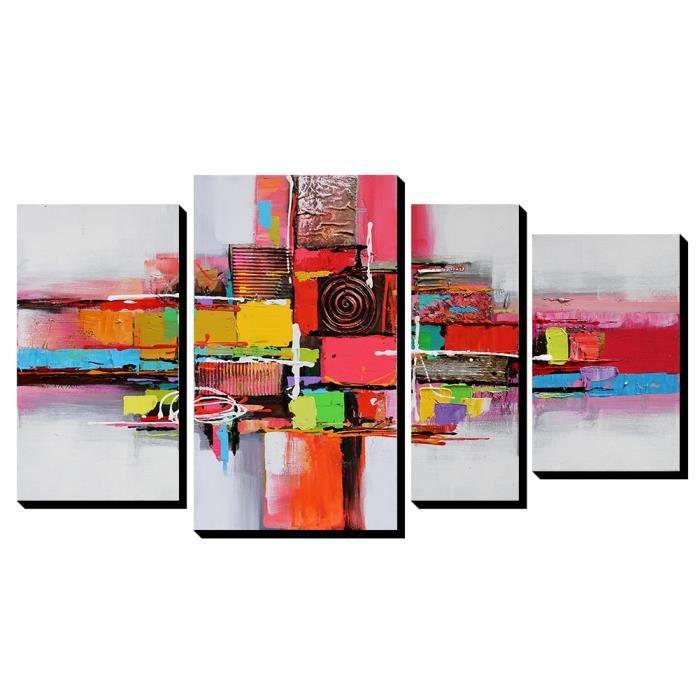 4pcs aonbat tableaux de peinture l 39 huile toile peint la main abstrait multicolore rose toile. Black Bedroom Furniture Sets. Home Design Ideas