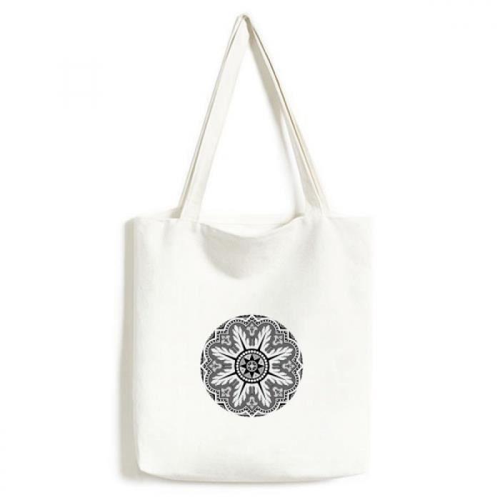 1663da9de517 noir et blanc arabe style tendance sac en toile artisanat écologiquement  tote lavables sacs cadeau