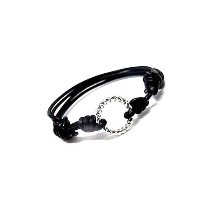 Bracelet loi circulaire cuir argent pièce intermédiaire de 925m [AA9914]