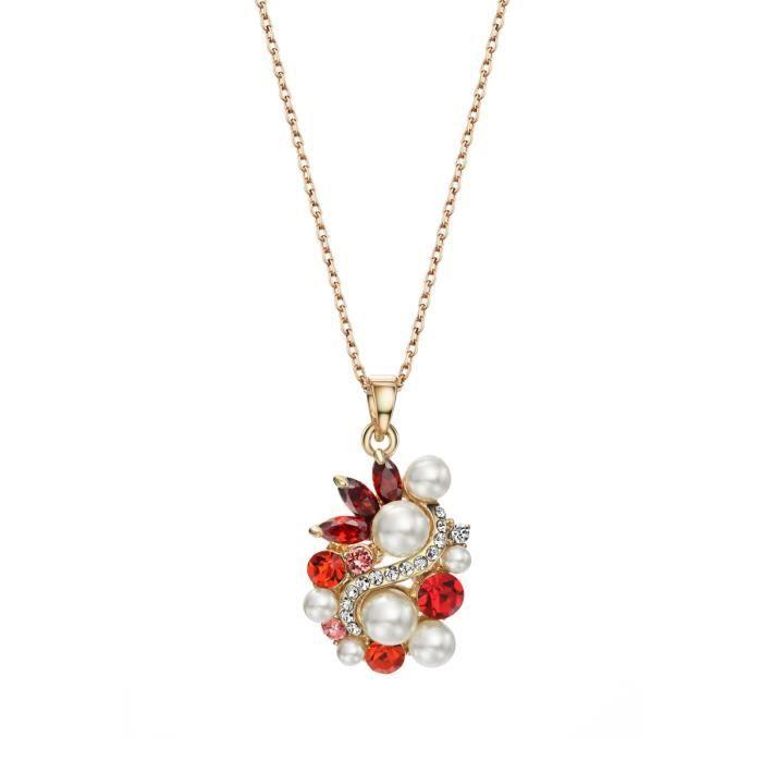 Cristal Swarovski et perles en forme de fleur Collier Bijoux Pendentif Femme PourTNLHS