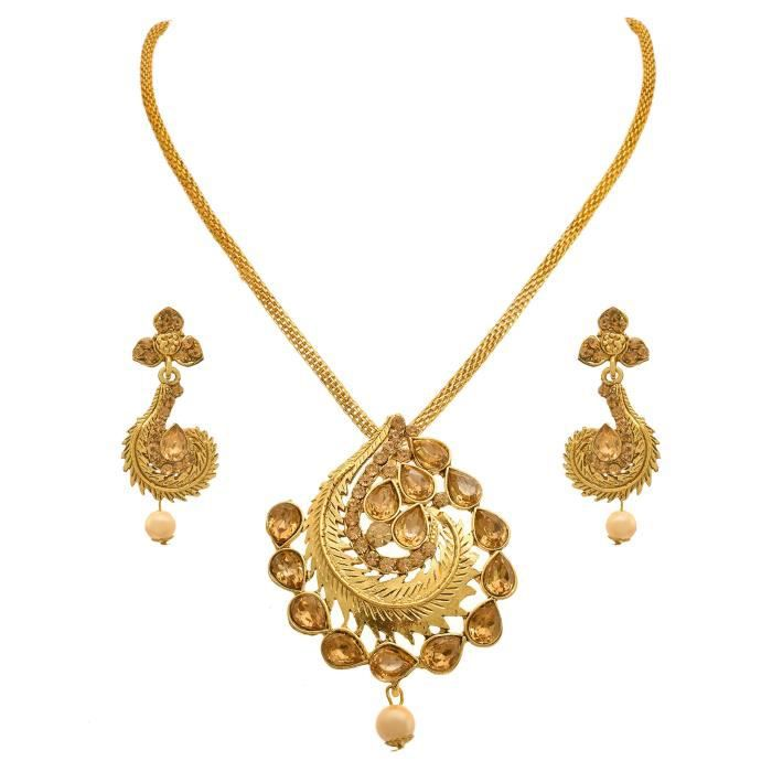 Womens Jfl - Traditional Ethnic One Gram Gold Plated Diamond Designer Pendant Set With Earring For C6F5W