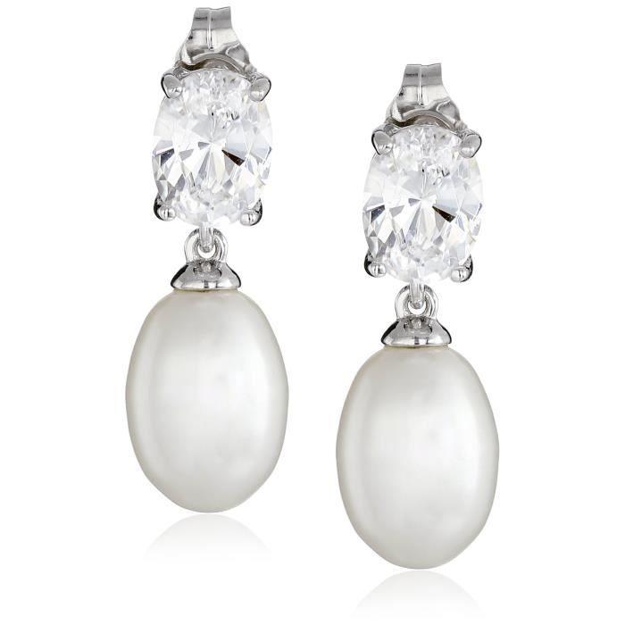 Jewel Panda Platinum-plaqué Ster. Boucles doreilles en argent avec et Cultured Pearl Oval Goutte