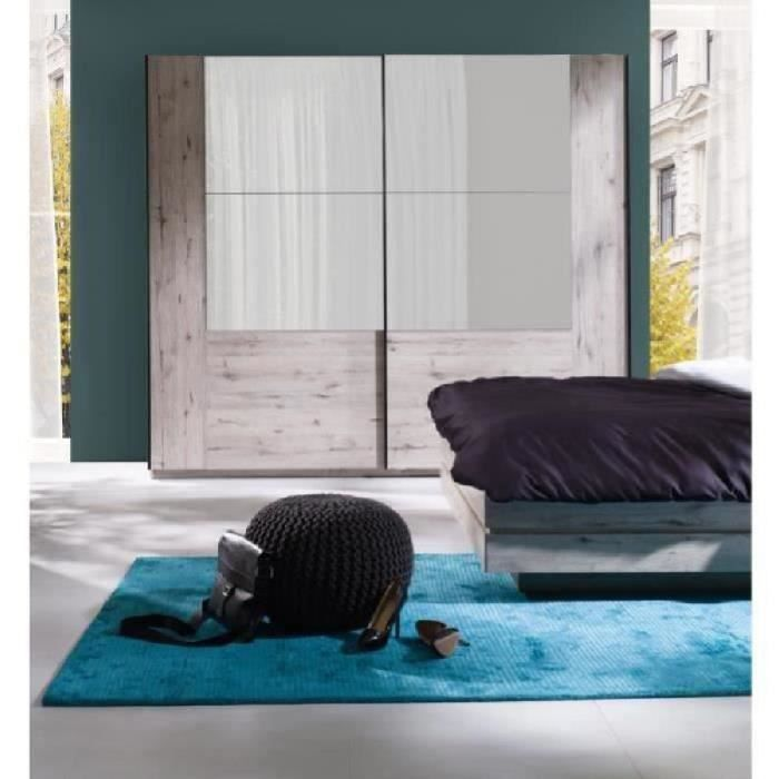 Armoire 2 Portes Coulissantes Avec Miroirs, Garde Robe Pour Chambre à  Coucher, Dressing, Penderie RICCARDO Couleur Oak Wellington